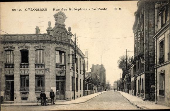 Ak Colombes Hauts de Seine, Rue des Aubépines, La Poste