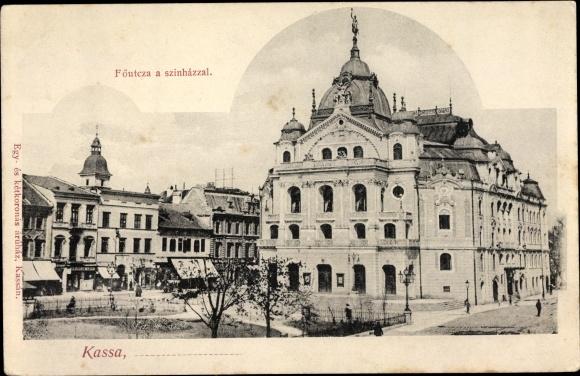 Ak Košice Kassa Kaschau Slowakei, Föutcza a szinhazzal