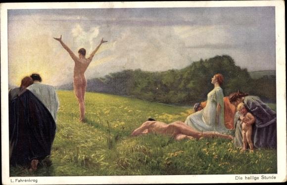 Künstler Ak Fahrenkrog, Ludwig, Die heilige Stunde, Aktmalerei, Körperkultur