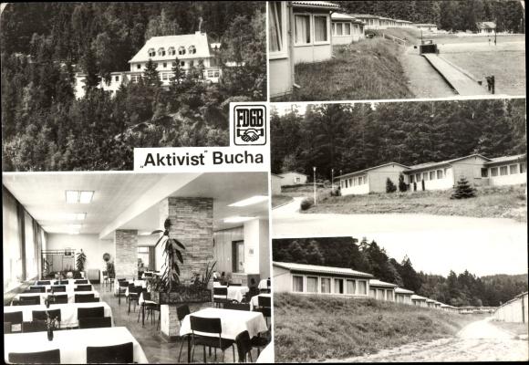 Ak Bucha bei Saalfeld in Thüringen, FDGB Erholungsheim Aktivist, Bungalows, Speisesaal