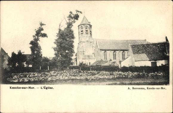 Ak Knokke Heist Westflandern, L'Église, Blick zur Kirche