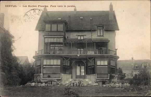 Ak Genval les Eaux Wallonisch Brabant, Les Roches Fleuries, Face vers le jardin, Villa