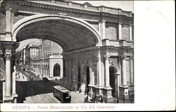 Ak Genova Genua Ligurien, Ponte Monumentale in Via XX Settembre, Straßenbahn