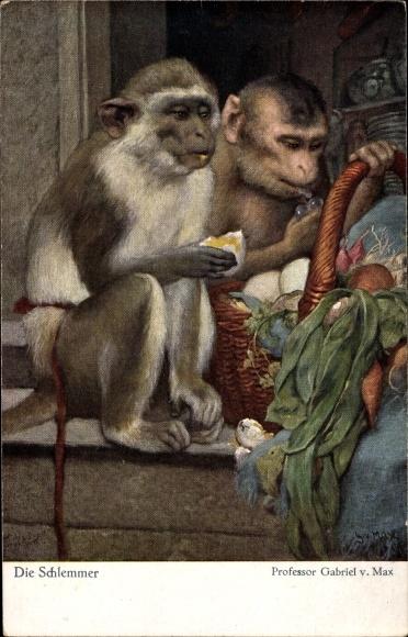 Künstler Ak v. Max, Gabriel, Die Schlemmer, Affen mit einem Korb voller Essen, Eier, Gemüse
