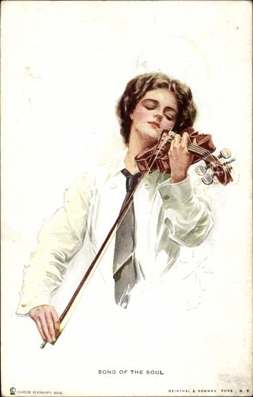 Künstler Ak Fisher, Harrison, Song of the Soul, Junge Frau mit Violine, Geige