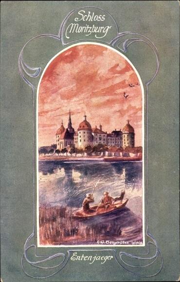 Passepartout Künstler Ak Bergmüller, C.W., Moritzburg in Sachsen, Jagdschloss, Entenjagd
