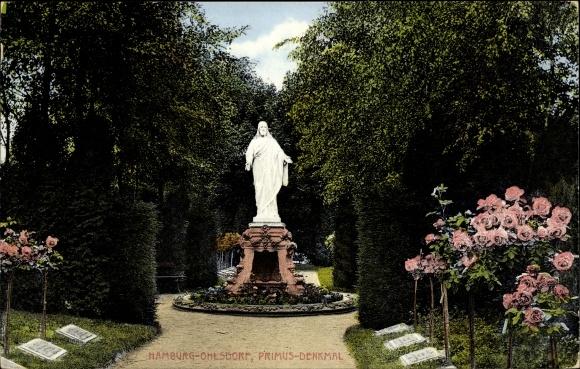 Ak Hamburg Nord Ohlsdorf, Partie auf dem Friedhof, Blick auf das Primus Denkmal