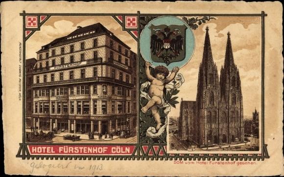 Wappen Litho Köln am Rhein, Hotel Fürstenhof, Dom