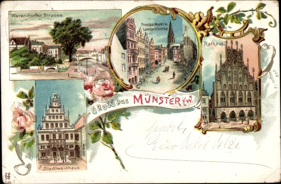 Litho Münster in Westfalen, Warendorfer Straße, Stadtweinhaus, Lambertikirche, Rathaus, Markt