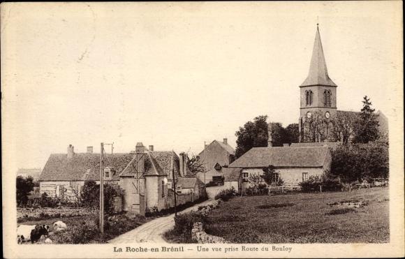 Ak La Roche en Brénil Côte d'Or, Une vue prise Route du Bouloy, Église