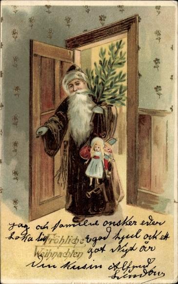 Ak Frohe Weihnachten, Weihnachtsmann mit Puppen und Tanne