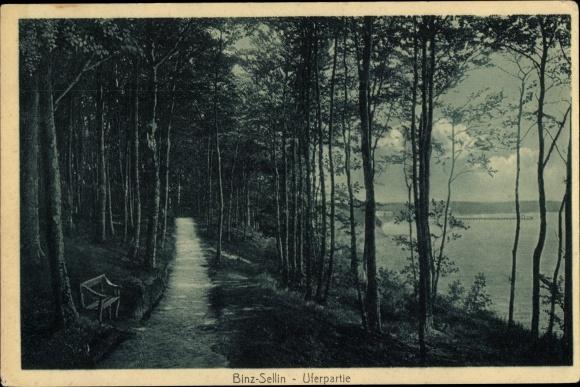 Ak Seebad Binz auf Rügen, Uferpartie, Küstenweg nach Sellin