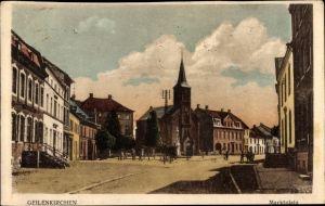 Ak Geilenkirchen in Nordrhein Westfalen, Marktplatz, Kirche und Denkmal, Geschäftshäuser