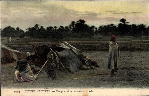 Ak Scenes et Types, Campement de Nomades, Nomaden vor ihrem Zelt