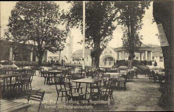 Ak Regensburg an der Donau Oberpfalz, Oberpfälzische Kreisausstellung 1910, Garten des Restaurants