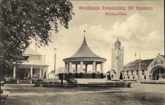 Ak Regensburg an der Donau Oberpfalz, Oberpfälzische Kreisausstellung 1910, Musikpavillon
