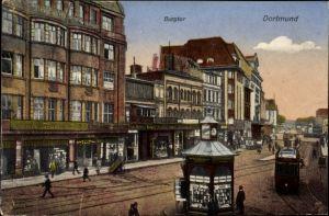 Ak Dortmund im Ruhrgebiet, Burgtor, Straßenpartie, Kiosk