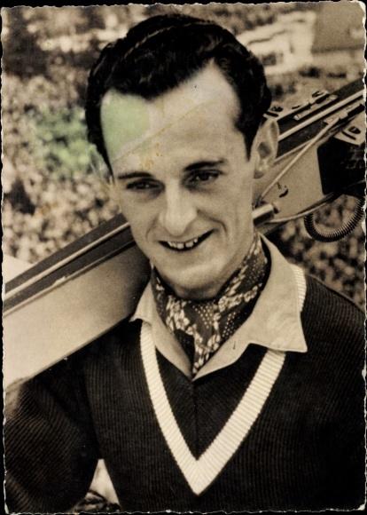 Ak Sportler Harry Glatz, SC Dynamo Klingenberg, Portrait mit Skiern