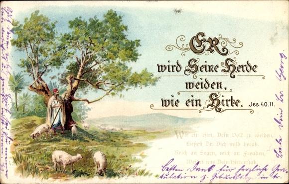 Litho Psalm Jes 40 II, Er wird Seine Herde weiden wie ein Hirte, Schafherde