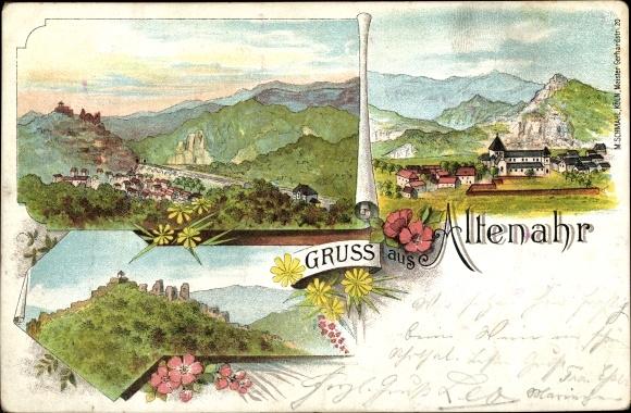 Litho Altenahr im Kreis Ahrweiler Rheinland Pfalz, Panoramaansicht von Ortschaft und Umgebung
