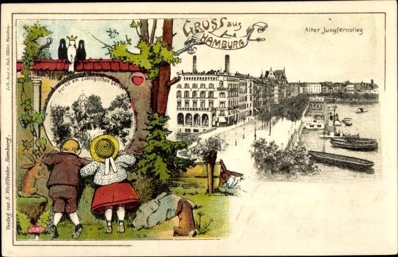 Litho Hamburg, Blick auf den Alten Jungfernstieg, Zoologischer Garten, Kinder auf einer Wiese
