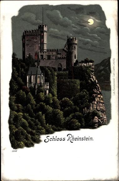 Mondschein Litho Trechtingshausen am Rhein, Blick auf das Schloss Rheinstein
