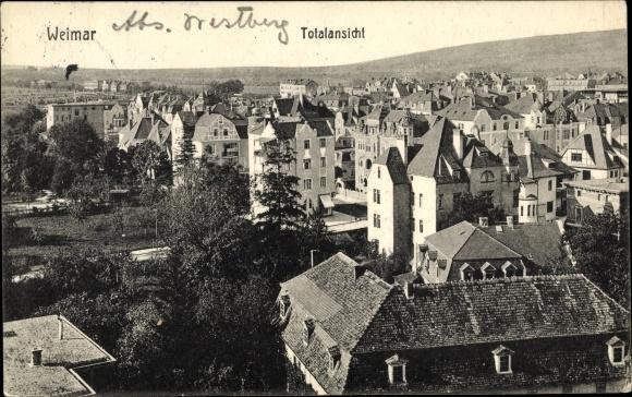Ak Weimar in Thüringen, Blick über die Dächer der Stadt, Wohnhäuser