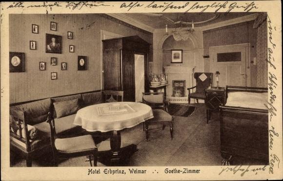 Ak Weimar in Thüringen, Hotel Erbprinz, Goethe Zimmer