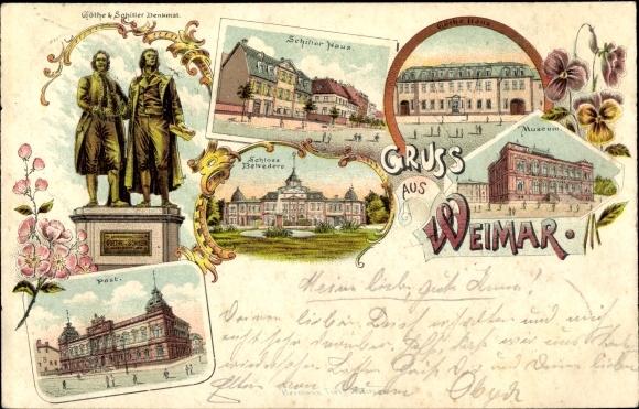 Litho Weimar in Thüringen, Schillerhaus, Goethehaus, Schloss Belvedere, Museum, Post