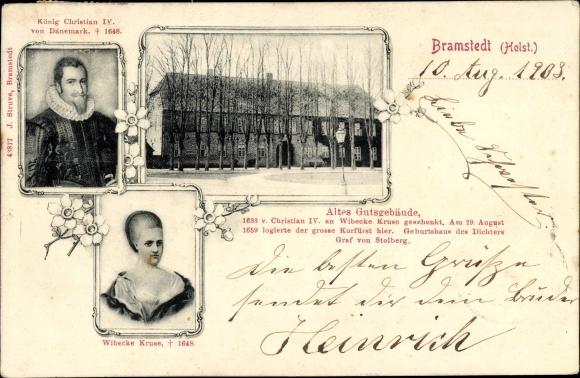 Ak Bad Bramstedt in Schleswig Holstein, Gutshof, Christian IV. König von Dänemark, Wilbecke Kruse