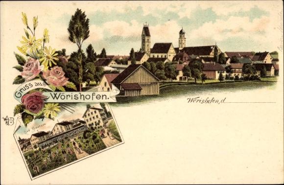 Litho Bad Wörishofen im schwäbischen Kreis Unterallgäu, Stadtpanorama, Bad Kreutzer