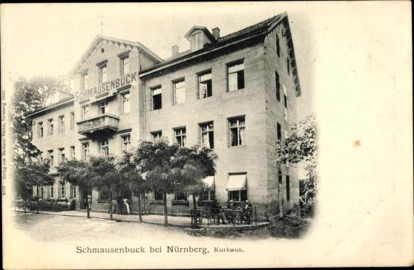 Ak Nürnberg in Mittelfranken Bayern, Partie am Schmausenbuck, Kurhaus