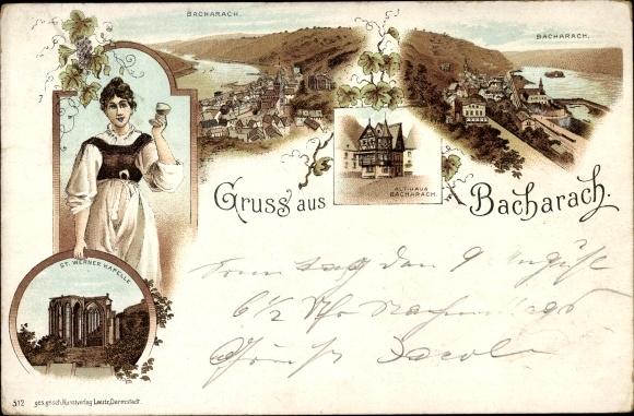 Litho Bacharach am Rhein im Kreis Mainz Bingen, Stadtpanorama, Althaus, Kapelle