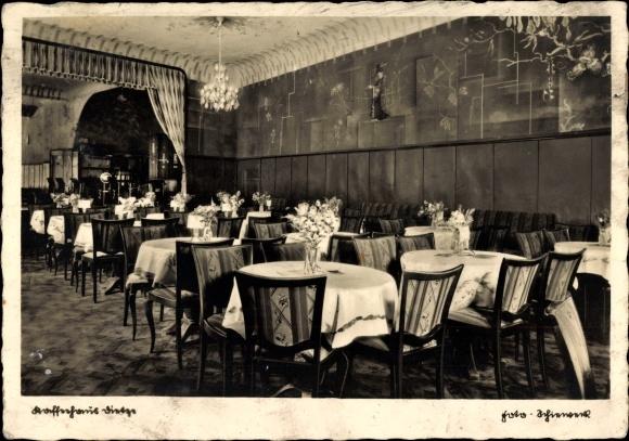 Ak Nordhausen in Thüringen, Blick in das Cafe Dietze, Speisesaal