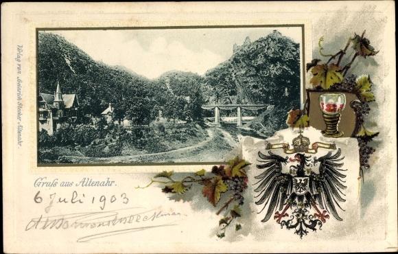 Präge Wappen Litho Altenahr im Kreis Ahrweiler Rheinland Pfalz, Landschaftspanorama