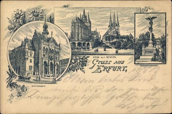 Litho Erfurt in Thüringen, Rathaus, Kriegerdenkmal, Dom, Severikirche