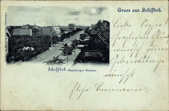 Mondschein Ak Hamburg Mitte Billstedt Schiffbek, Partie in der Hamburger Straße