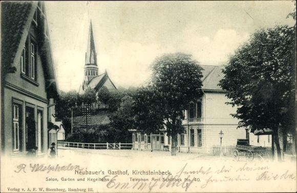 Ak Hamburg Mitte Billstedt Kichsteinbeck, Neubauer's Gasthof, Straßenpartie, Kirchturm
