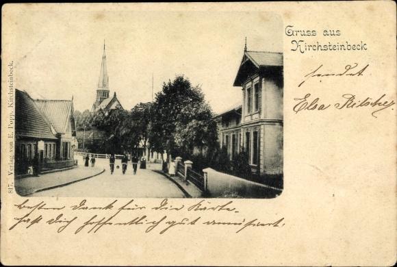 Ak Hamburg Mitte Billstedt Kirchsteinbeck, Straßenpartie im Ort, Kirche