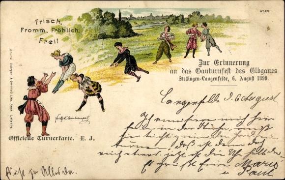 Künstler Litho Kleinhempel, Fritz, Hamburg Eimsbüttel Stellingen Langenfelde, Elbgau Turnfest 1899