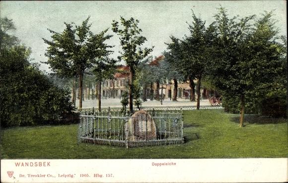 Ak Hamburg Wandsbek, Partie an der Doppeleiche, Gedenkstein