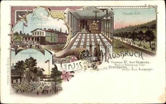 Litho Hamburg Harburg Hausbruch, Hotel Reiherberg, Bes. Aug. Albrecht, Chaussee, Wald, Saal