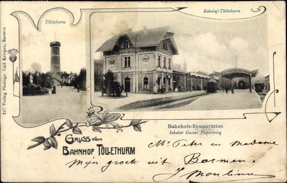 Ak Barmen Wuppertal, Bahnhof Toelleturm, Barmer Bergbahn, Zahnradbahn, Restauration G. Piepenbring
