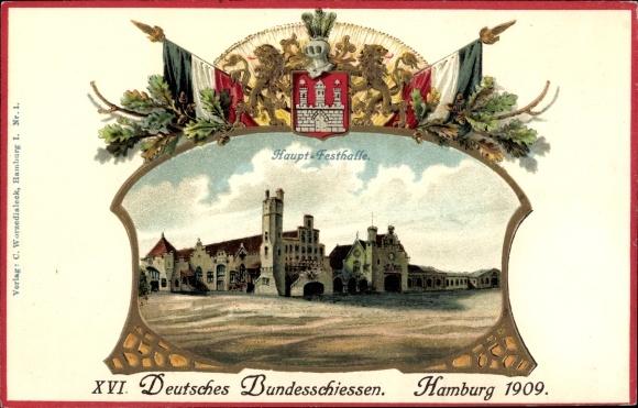 Präge Wappen Litho Hamburg, XVI. Deutsches Bundesschießen 1909, Festhalle