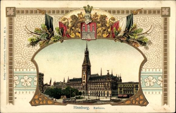 Präge Wappen Litho Hamburg, Blick auf das Rathaus