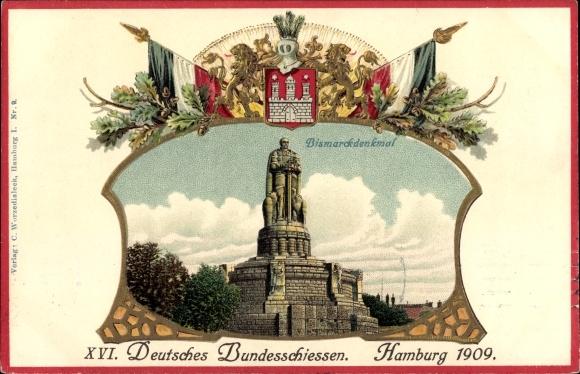 Präge Wappen Litho Hamburg, XVI. Deutsches Bundesschießen 1909, Bismarck Denkmal