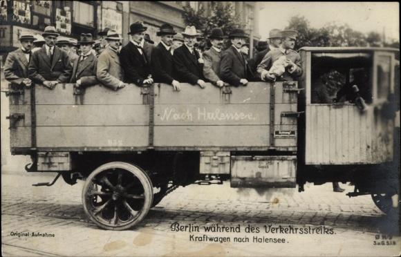 Ak Berlin, Verkehrsstreik 1919, Kraftwagen nach Halensee