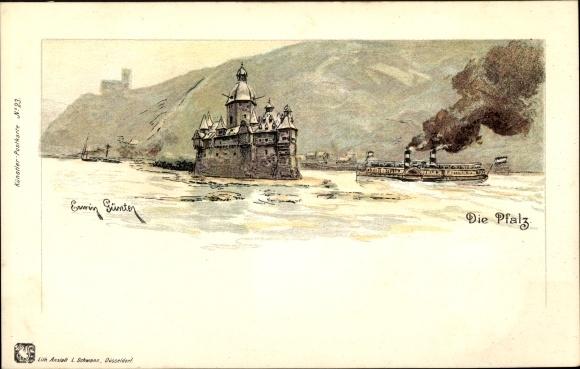 Künstler Litho Günther, Erwin, Kaub Rheinland Pfalz, Burg Pfalzgrafenstein, Dampfer, Burg Gutenfels
