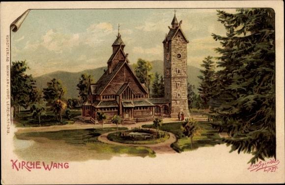 Künstler Litho Spindler, Erwin, Brückenberg b. Krummhübel Riesengebirge Schlesien, Kirche Wang