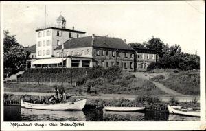 Ak Mrzeżyno Deep Pommern, Das Strandhotel, Wasserseite